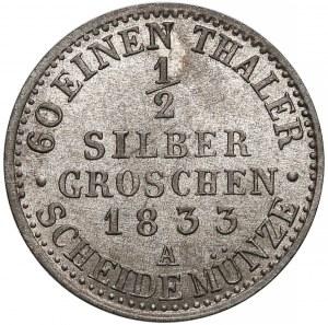 Niemcy, Prusy, Fryderyk Wilhelm III, 1/2 silber groschen 1833-A