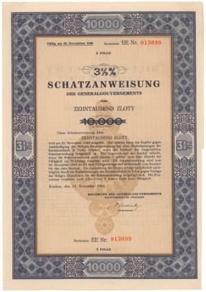 Okupacja, Bilet Skarbowy Em.10 litera EE 10.000 zł 1943