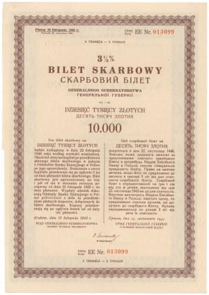 Okupacja, 3.5% Bilet Skarbowy, Em.10 litera EE - 10.000 złotych 1943