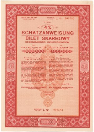 Okupacja, Bilet Skarbowy Em.5 litera L 1.000.000 zł 1942