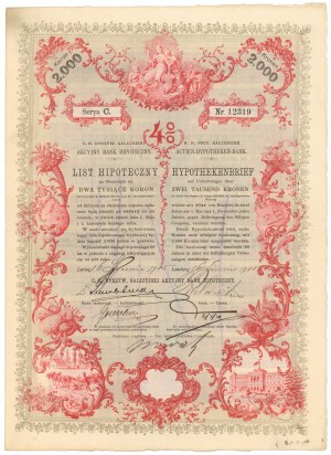 Lwów, Akc. Bank Hipoteczny, List hipoteczny 2.000 koron 1905