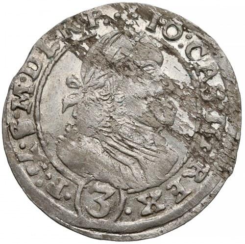 Jan II Kazimierz, 3 krajcary Opole 1661 TT - rzadkość