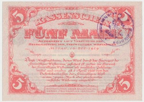 """Rosja / Łotwa, Mitawa, 5 mark 1919 ze stemplem """"Freikorps Weickhmann"""" Zachodnia Armia Ochotnicza"""