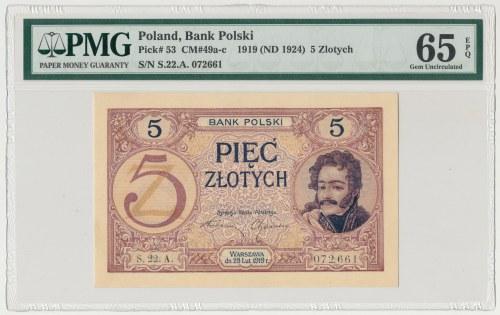 5 złotych 1919 - S. 22 A - PMG 65 EPQ