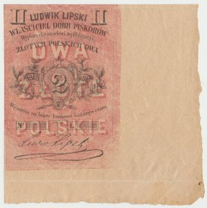 Piskorów, Ludwik Lipski, 2 złote polskie 1863 - szeroki margines