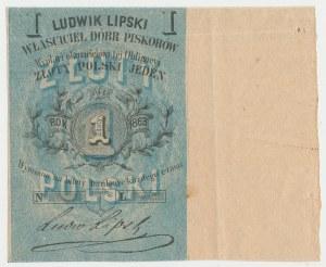 Piskorów, Ludwik Lipski, 1 złoty polski 1863 - szeroki margines