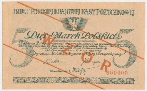 WZÓR 5 mkp 05.1919 - bez serii, numeracja zerowa