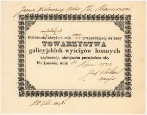 Towarzystwo Galicyjskich Wyścigów Konnych, Lwów, Akcja na rok 1847/48