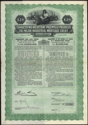Tow. Kredytowe Przemysłu Polskiego, List zastawny 8% 20 funtów 1928