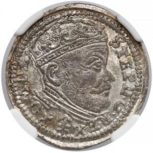Stefan Batory, Trojak Wilno 1586 - herb Lis - NGC MS62