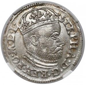 Stefan Batory, Trojak Olkusz 1585 GH - piękny - NGC MS63