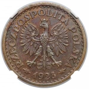 Próba BRĄZ 1 złoty 1928 - wieniec liściasty, bez PRÓBA - b. rzadka