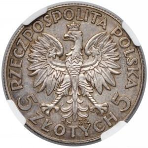 PRÓBA 5 złotych 1932 Głowa Kobiety, Warszawa - wklęsły napis