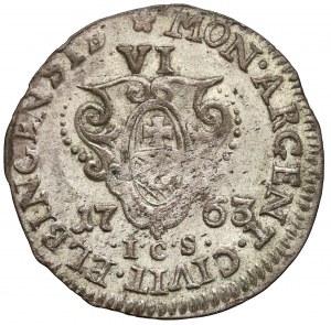 August III Sas, Szóstak Elbląg 1763 ICS - ostatni - rzadki