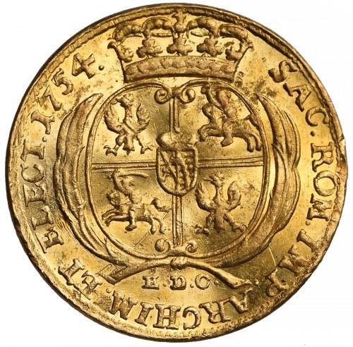 August III Sas, Dukat Lipsk 1754 EDC - rzadki