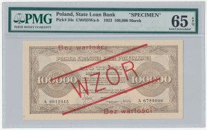 WZÓR 100.000 mkp 1923 - A - bez perforacji - PMG 65 EPQ