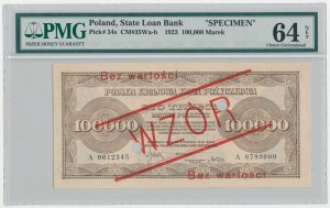 WZÓR 100.000 mkp 1923 - A - perforacja - PMG 64 NET