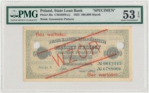WZÓR 500.000 mkp 1923 - 7 cyfr - Serja X - PMG 53 EPQ