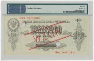 WZÓR 10 mln mkp 1923 - B - PMG 64 NET