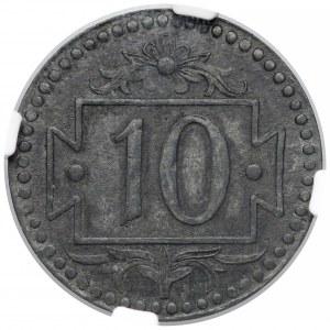 Gdańsk, destrukt 10 fenigów 1920 - 58 perełek - SKRĘTKA