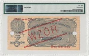 WZÓR 5 mln mkp 1923 - A - perforacja pozioma - PMG 55 NET