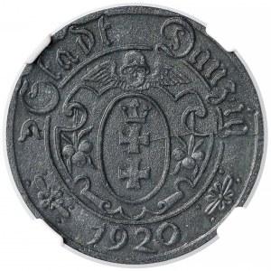 Gdańsk, 10 fenigów 1920 - 55 perełek - rzadkie - NGC MS62