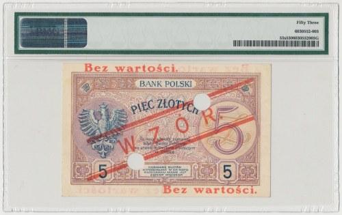 WZÓR 5 złotych 1919 - S.10 A - niski nadruk i perforacja - PMG 53