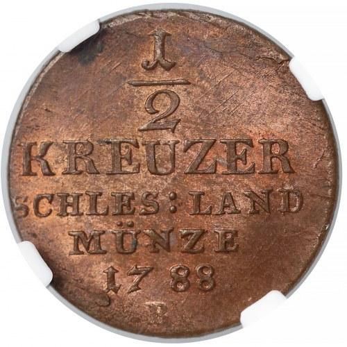 Fryderyk Wilhelm II, 1/2 krajcara Wrocław 1788-B - NGC MS64 RB
