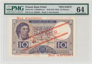 WZÓR 10 złotych 1919 - S.4.A - bez perforacji - PMG 64