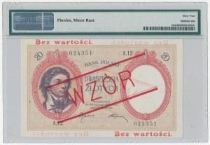 WZÓR 20 złotych 1919 - A.12 - wysoki nadruk, bez perforacji - PMG 64