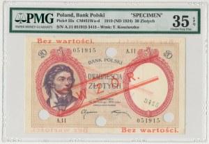 WZÓR 20 złotych 1919 - A.11 - niski nadruk, z perforacją - PMG 35 EPQ