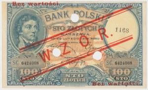 WZÓR 100 złotych 1919 - niski nadruk, z perforacją