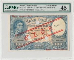 WZÓR 100 złotych 1919 - niski nadruk, z perforacją - PMG 45