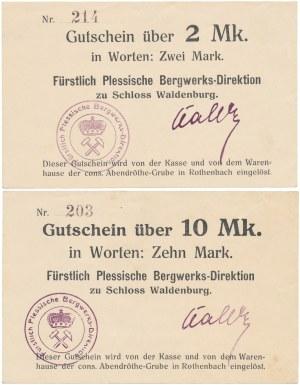 Waldenburg (Wałbrzych), Plessische Bergwerks..., 2 i 10 mark (2szt)
