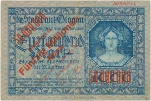 Glogau (Głogów), 50 mln mark 1923 PRZEDRUK z 1.000 mark 1922