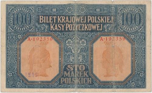 100 mkp 1916 jenerał - ostemplowane numeratorem na aweresie - z kolekcji falsyfikatów