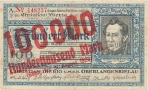 Oberlangenbielau (Bielawa), Christian Dierig, 100.000 mark 1923 - bez daty emisji