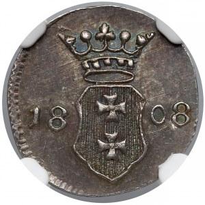 Wolne Miasto Gdańsk, Szeląg 1808-M - CZYSTE srebro - NGC MS62
