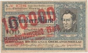 Oberlangenbielau (Bielawa), Christian Dierig GmbH, 100.000 mark 1923 - 23 stycznia