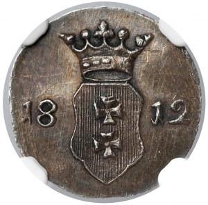 Wolne Miasto Gdańsk, Szeląg 1812-M - CZYSTE srebro - NGC MS63 (MAX)