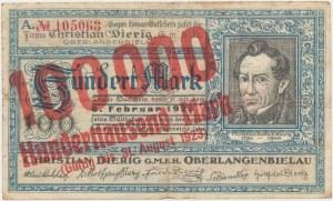 Oberlangenbielau (Bielawa), Christian Dierig GmbH, 100.000 mark 1923 - 6 luty