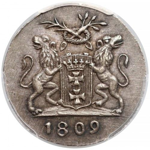 Wolne Miasto Gdańsk, Grosz 1809-M - CZYSTE srebro - PCGS MS62 (MAX)