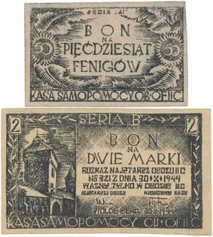 Oflag II C Woldenberg, Bony na 50 fenigów i 2 marki 1944 - zestaw (2szt)