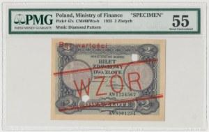 WZÓR 2 złote 1925 - perforacja - PMG 55