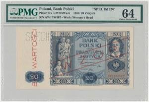 WZÓR 20 złotych 1936 - AW - perforacja - PMG 64