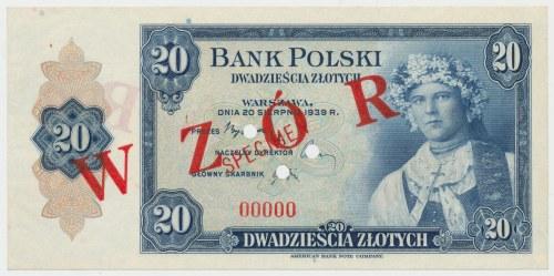 ABNCo 20 złotych 1939 - SPECIMEN przedrukowany na WZÓR - rzadkość