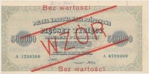 WZÓR 500.000 mkp 1923 - 7 cyfr - A - bez perforacji - przycięte marginesy