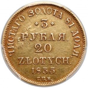 3 ruble = 20 złotych 1835 ПД, Petersburg - PCGS AU