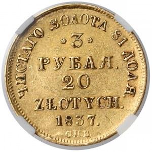 3 ruble = 20 złotych 1837 ПД, Petersburg - NGC XF