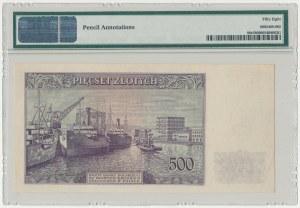 Londyn 500 złotych 1939 A 000000 - DRUK PRÓBNY - bez znaku wodnego - PMG 58